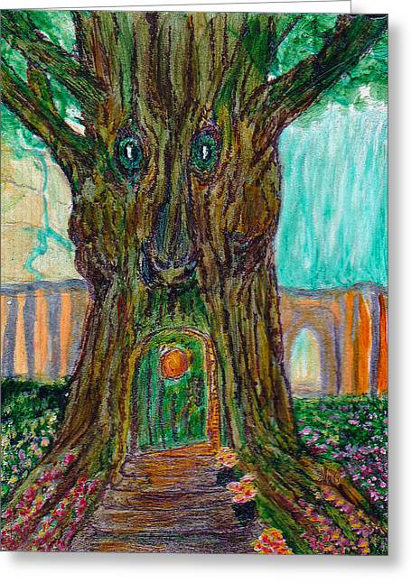 Secret Tree In The Land Of Fairies Fantasy Greeting Card by Michele Avanti