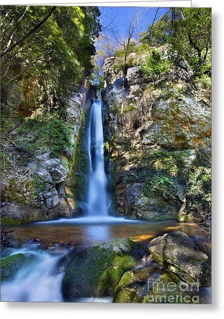 Secret Waterfall Greeting Card by Simon Kayne