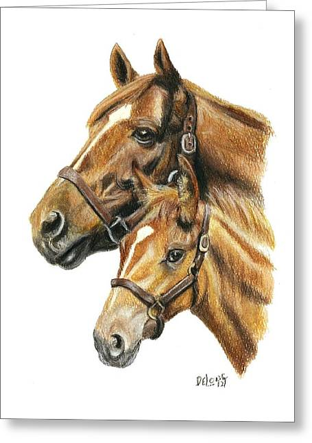 Secretariat And Grandson Innception Vt Greeting Card by Pat DeLong
