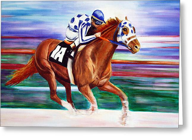 Greeting Card featuring the painting Secretariat  by Jennifer Godshalk