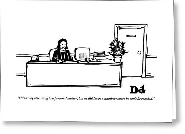 Secretary Responding To A Business Call Greeting Card
