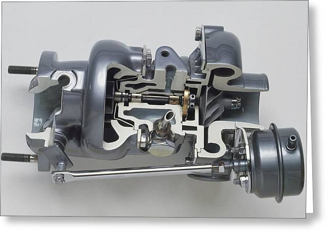 Sectioned Modern Turbocharger From An Car Greeting Card