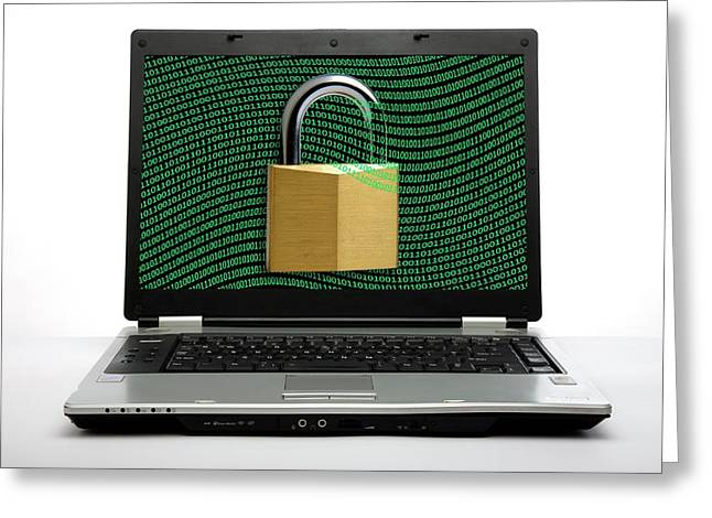 Secure Laptop Computer Greeting Card by Victor De Schwanberg