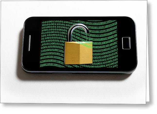 Secure Mobile Phone Greeting Card by Victor De Schwanberg