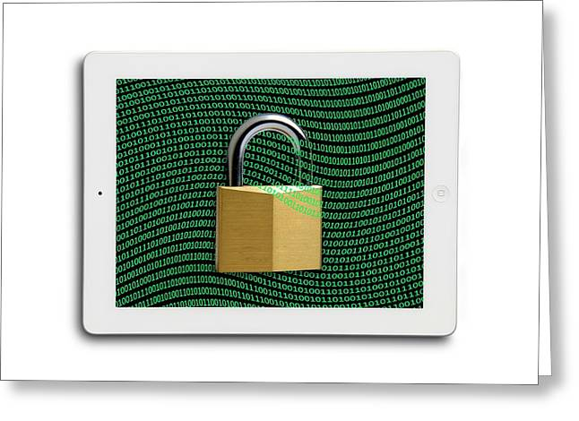 Secure Tablet Computer Greeting Card by Victor De Schwanberg