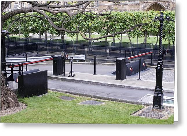 Security Barriers, Houses Of Parliament Greeting Card by Mark Williamson