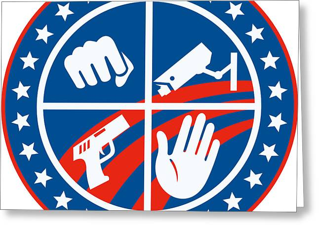 Security Cctv Camera Gun Fist Hand Circle Greeting Card by Aloysius Patrimonio