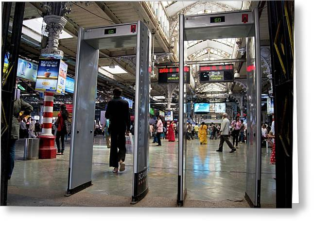 Security Scanners At Mumbai Station Greeting Card