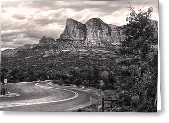Sedona Arizona Black And White Panorama Greeting Card by Gregory Dyer