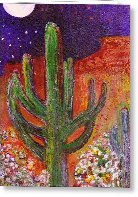 Sedona Arizona Cacti At Night Greeting Card