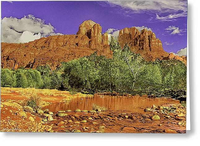 Sedona Arizona Cathedral Rocks Oak Creek Crossing Greeting Card by Bob and Nadine Johnston