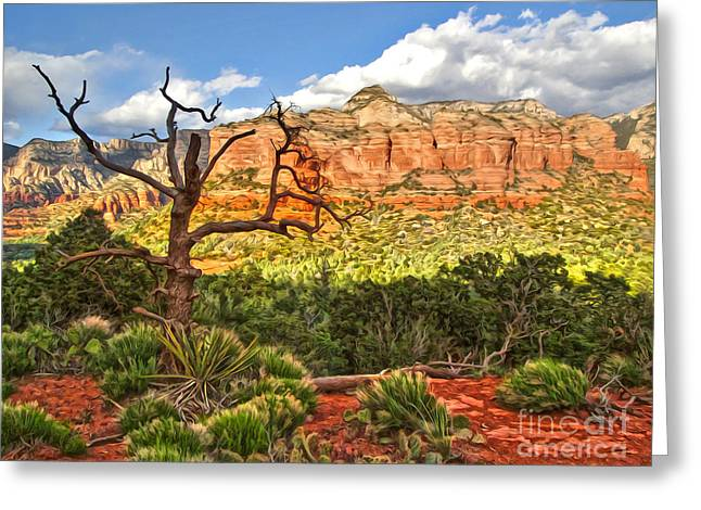 Sedona Arizona Dead Tree - 03 Greeting Card by Gregory Dyer