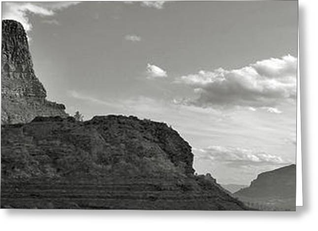 Sedona Arizona Mountains Black And White Panorama Greeting Card by Gregory Dyer