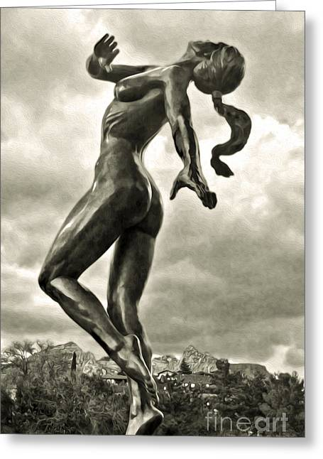 Sedona Arizona Statue In Sepia Greeting Card by Gregory Dyer