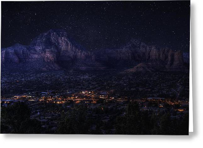 Greeting Card featuring the photograph Sedona By Night by Lynn Geoffroy