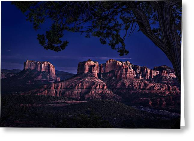 Sedona Cathedral Rock Post Sunset Glow Greeting Card by Mary Jo Allen