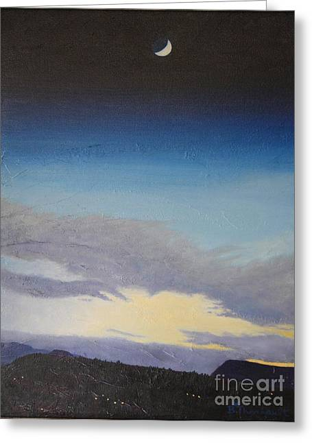 Sedona Moon Greeting Card by Beverly Theriault