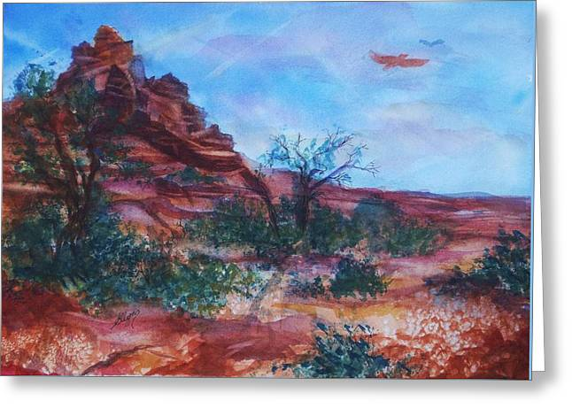 Sedona Red Rocks - Impression Of Bell Rock Greeting Card by Ellen Levinson