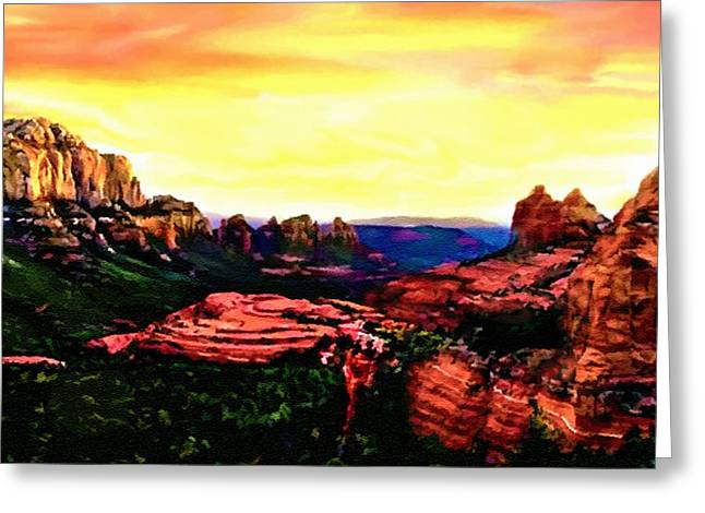 Sedona Red Rocks Sunset Painting Greeting Card