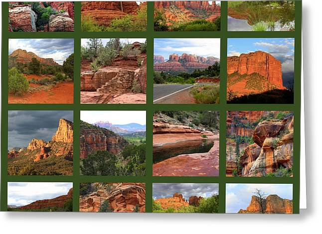 Sedona Spring Collage Greeting Card by Carol Groenen