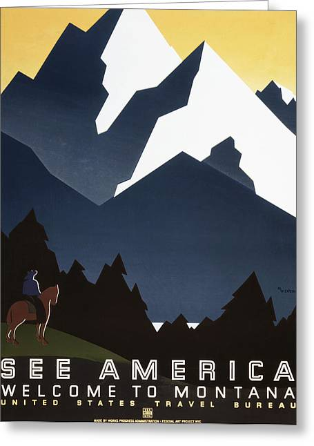 See America - Montana Mountains Greeting Card by Georgia Fowler