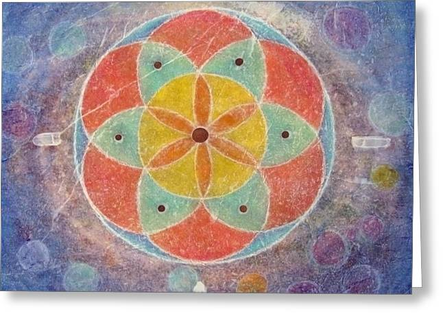Seed Of Life Mandala Greeting Card by Janelle Schneider
