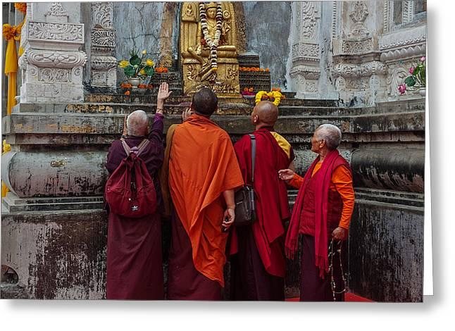 Seeking Blessings Of Budha Greeting Card by Mukesh Srivastava