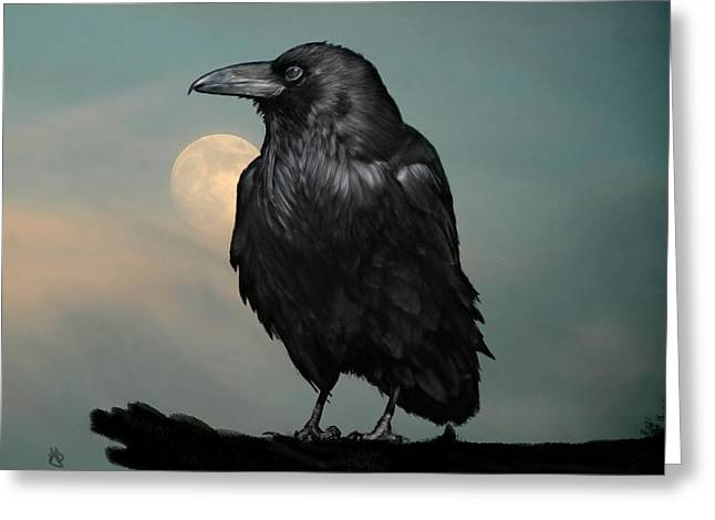 Seeking Poe Greeting Card by Hazel Billingsley