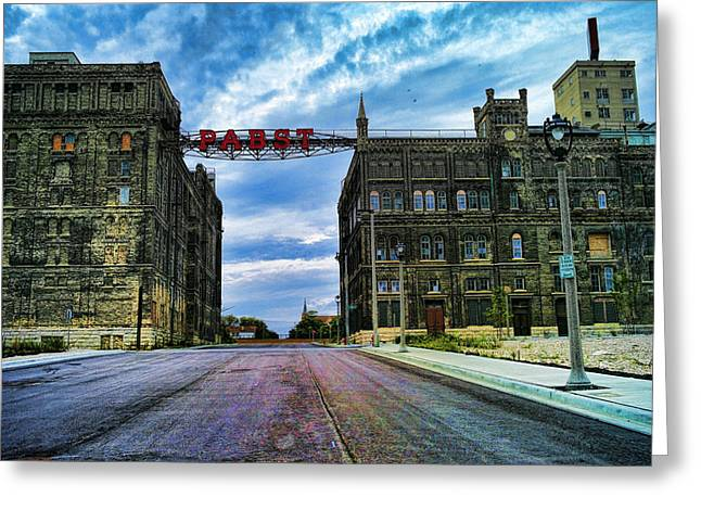 Seen Better Days Old Pabst Brewery Home Of Blue Ribbon Beer Since 1860 Now Derelict Greeting Card by Lawrence Christopher