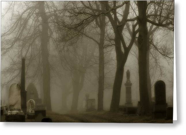 A Graveyard Seeped In Fog Greeting Card by Gothicrow Images