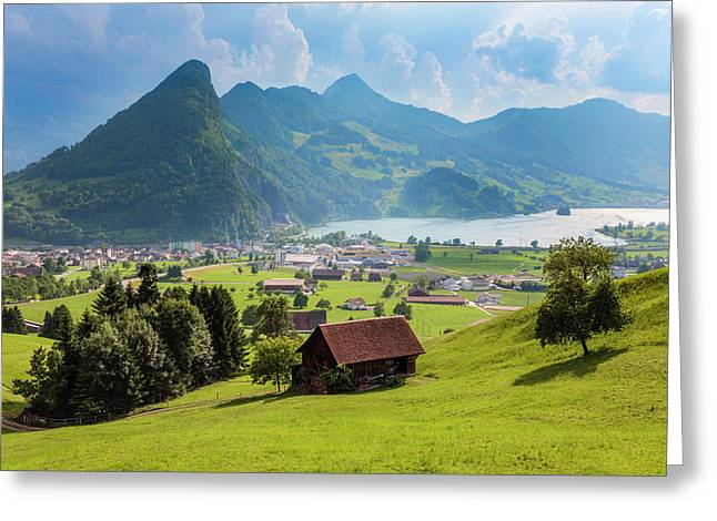 Seewen, A Village On Lake Lauerz Greeting Card