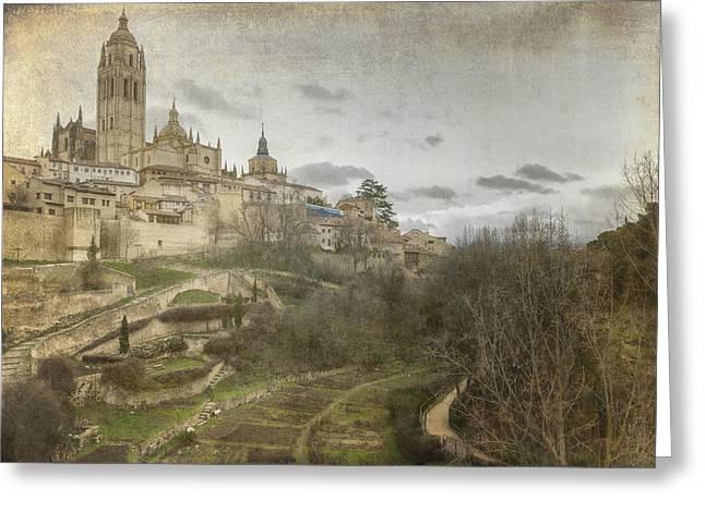 Segovia View Greeting Card by Joan Carroll