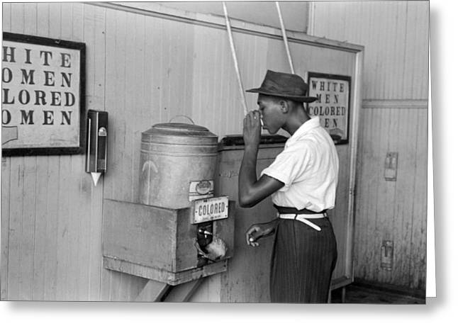 Segregated Drinking Cooler Greeting Card by Russell Lee