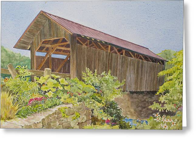 Seguin Covered Bridge In Charlotte Vermont Greeting Card by Mary Ellen Mueller Legault