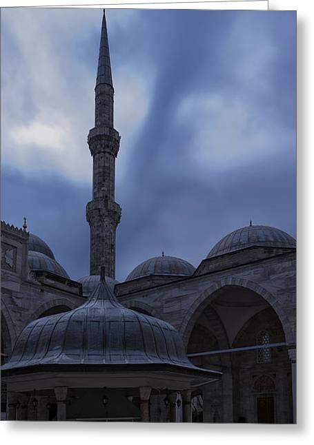 Sehzade Mosque At Night Greeting Card by Antony McAulay