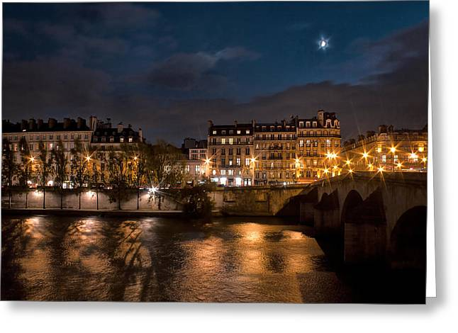 Seine River At Night Greeting Card