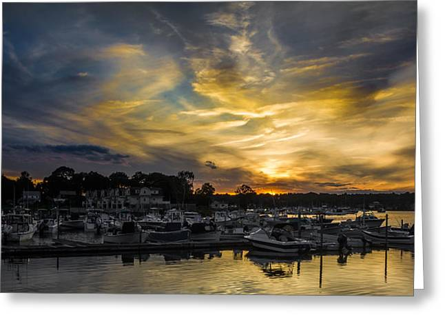 Selective Color Sunset - Mystic River Greeting Card