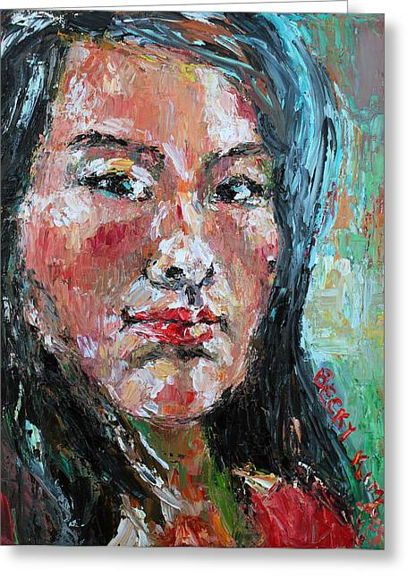 Self Portrait 2013 - 1 Greeting Card by Becky Kim