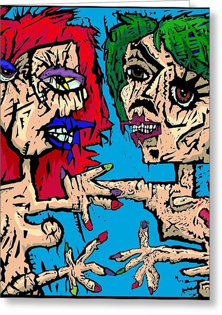Self Portrait As Man Stroke Woman Greeting Card by Brett Sixtysix