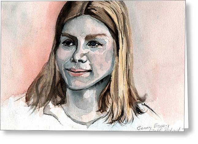 Self Portrait At 15 Greeting Card by Genevieve Esson