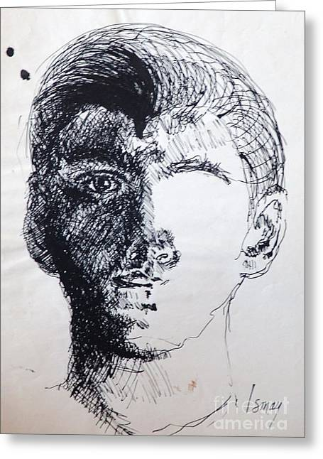 Greeting Card featuring the drawing Self Portrait At 21 by Rod Ismay