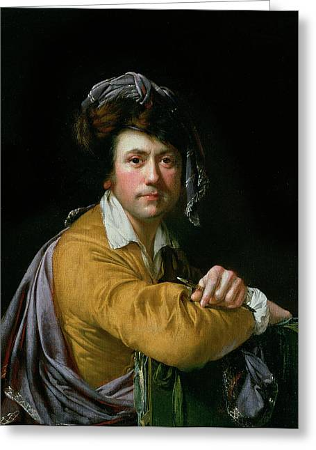 Self Portrait At The Age Of About Forty, C.1772-3 Greeting Card by Joseph Wright of Derby