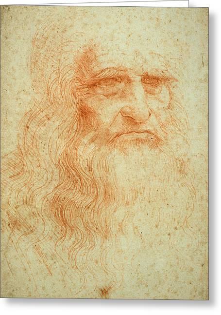 Self Portrait Greeting Card by Leonardo da Vinci