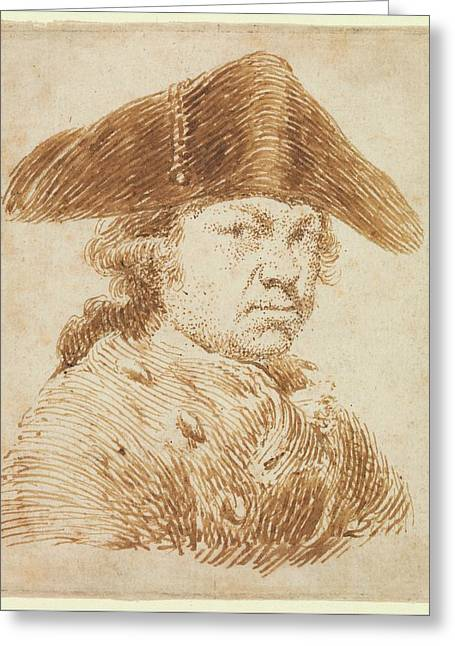Self-portrait In A Cocked Hat Greeting Card