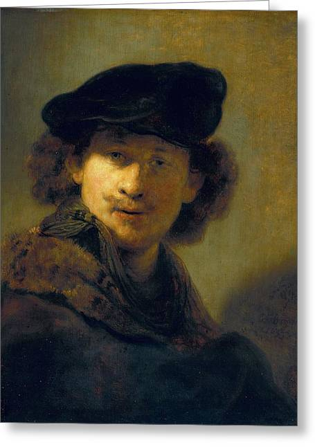 Self-portrait In A Velvet Beret Greeting Card