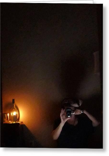 Self Portrait In Ancient Lighting Greeting Card by Carolina Liechtenstein