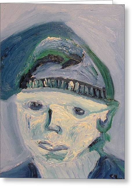 Self Portrait In Blue And Green Greeting Card by Shea Holliman