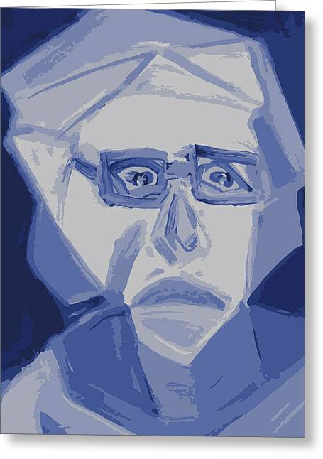 Self Portrait In Cubism Greeting Card by Shea Holliman