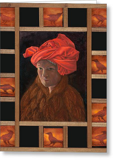 Self-portrait In The Red Turban Greeting Card by Alla Parsons