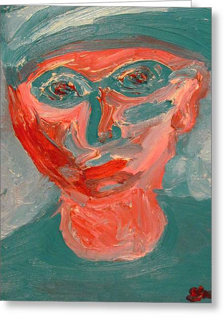 Self Portrait In Turquoise And Rose Greeting Card by Shea Holliman